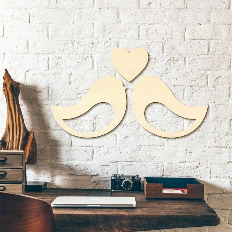 Holzkunst Pappel - Vogelpärchen