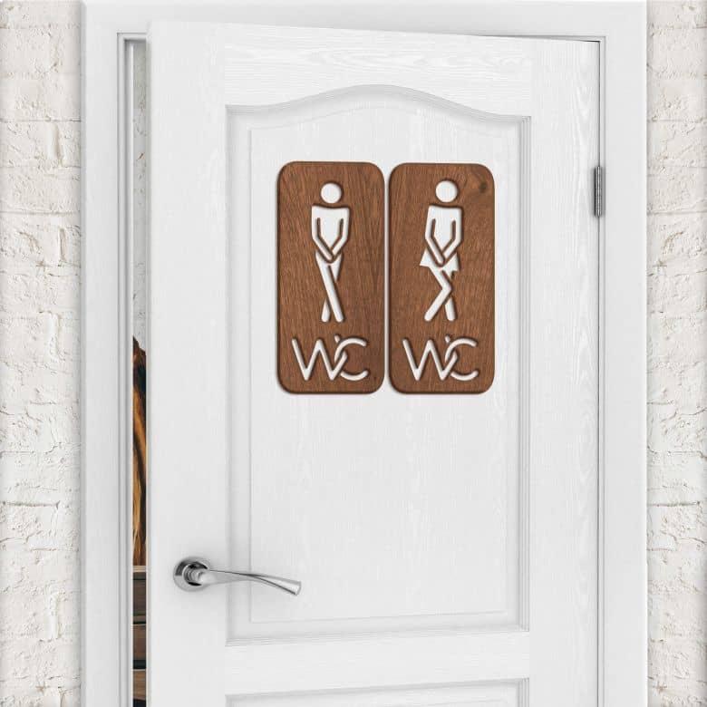 Décoration en bois - Signalisation toilettes 02 - Placage d'acajou
