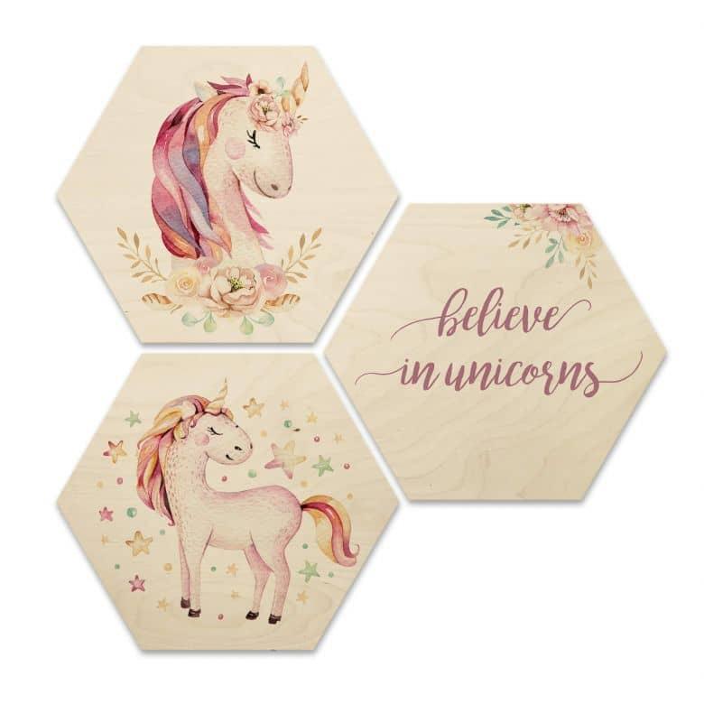Hexagon hout - Kvilis - Believe in Unicorns
