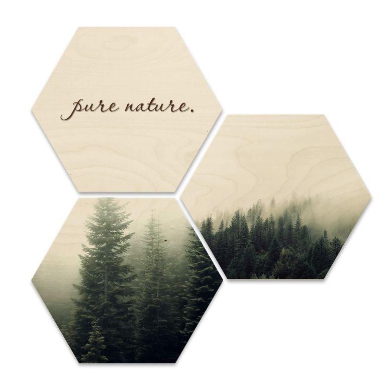 Hexagon - Holz Birke-Furnier - Pure Nature Wald (3er Set)