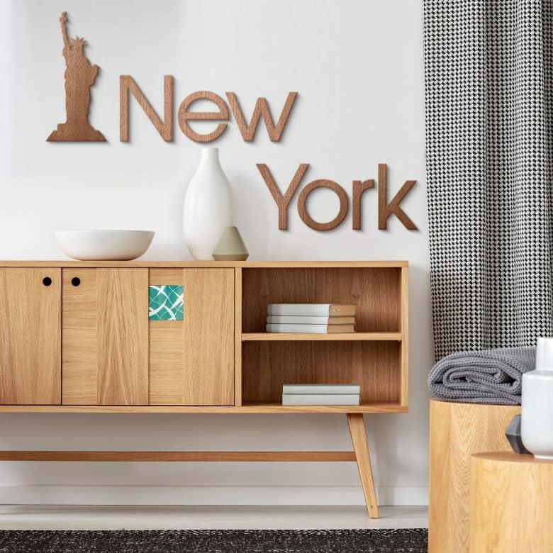 Holzkunst Mahagoni - Schriftzug New York  mit Freiheitsstatue