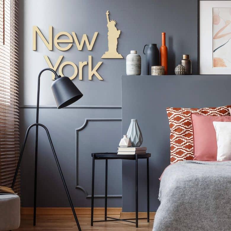 Holzkunst Pappel - Schriftzug New York mit Freiheitsstatue