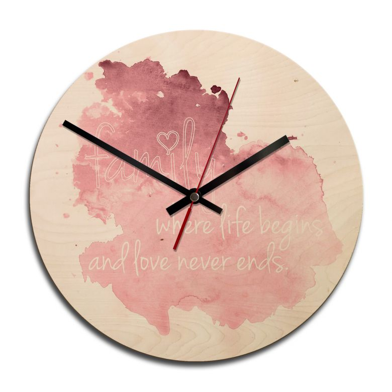 Holz-Wanduhr - Family is where life begins 02