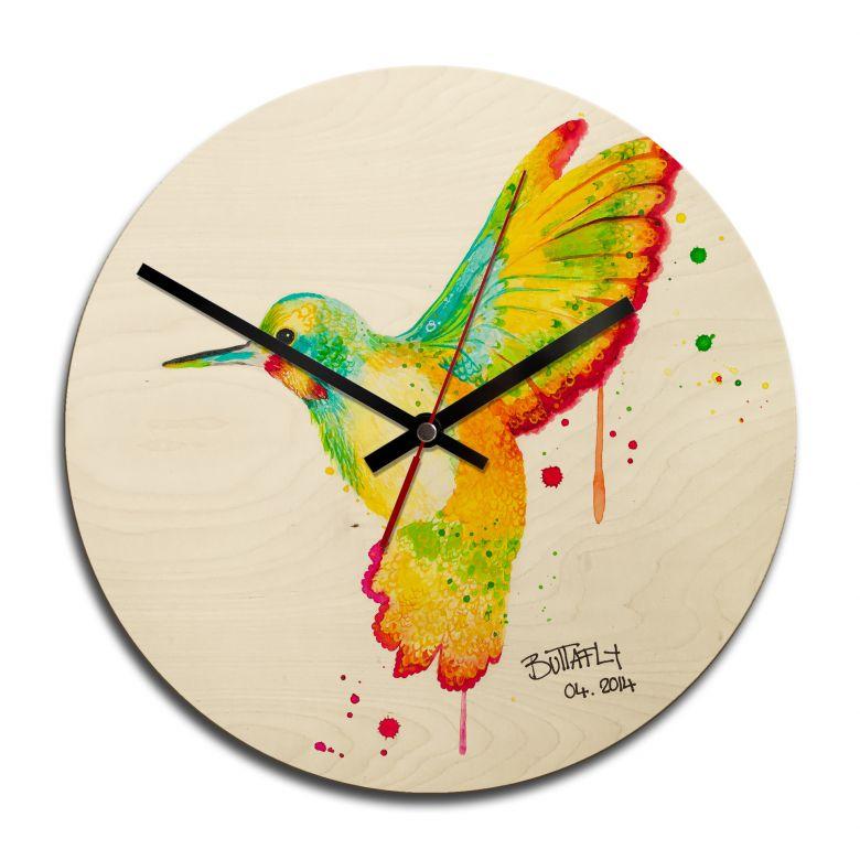 Holz-Wanduhr - Buttafly - Kolibri