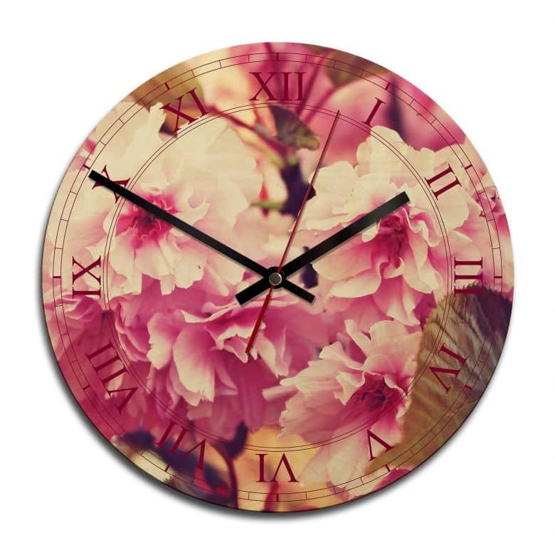 Horloge murale en bois - Fleurs de cerisier vintage