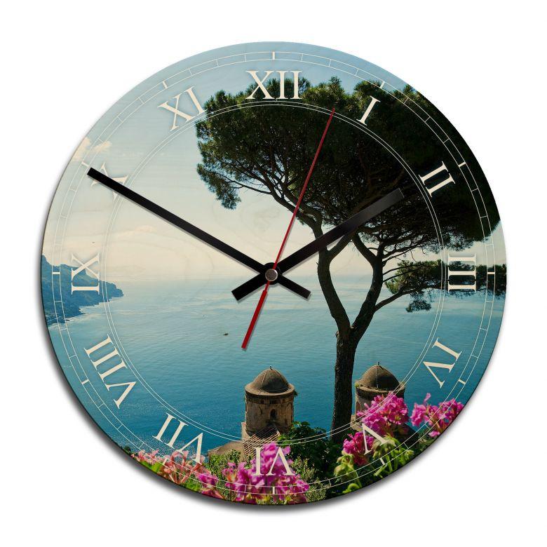 Horloge murale en bois - Vue sur la côte amalfitaine