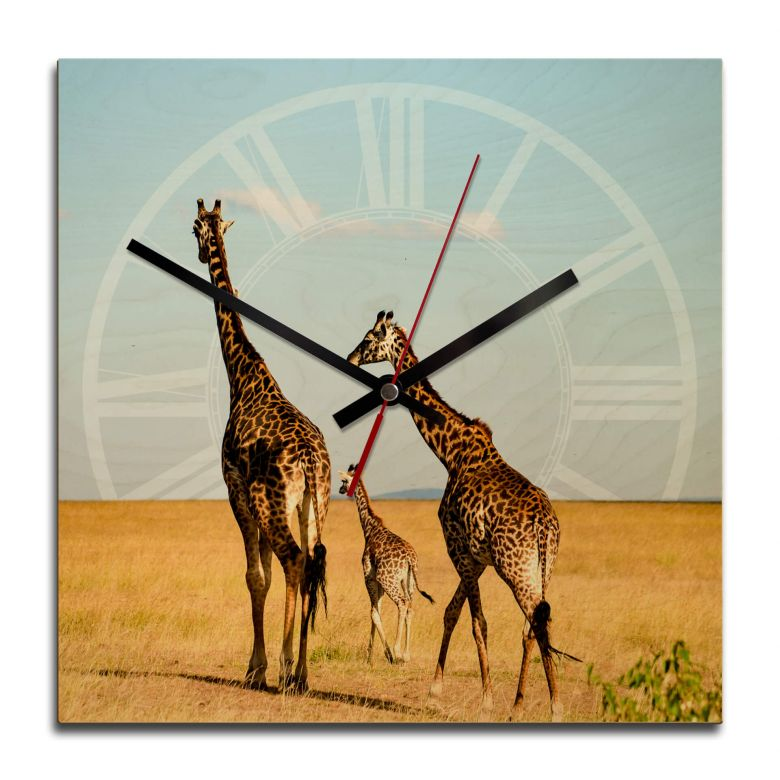 Wooden clock – African Steppe