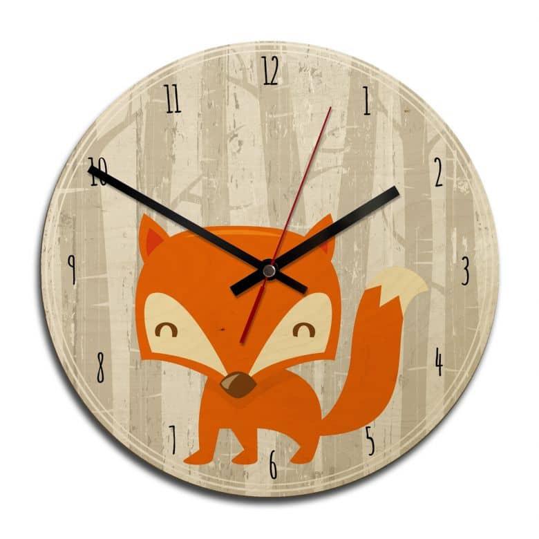 Wooden clock – Fox o'clock