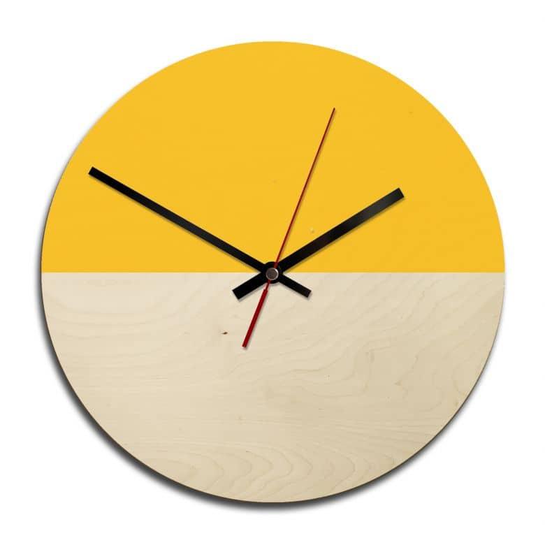Wooden clock – Hedda yellow