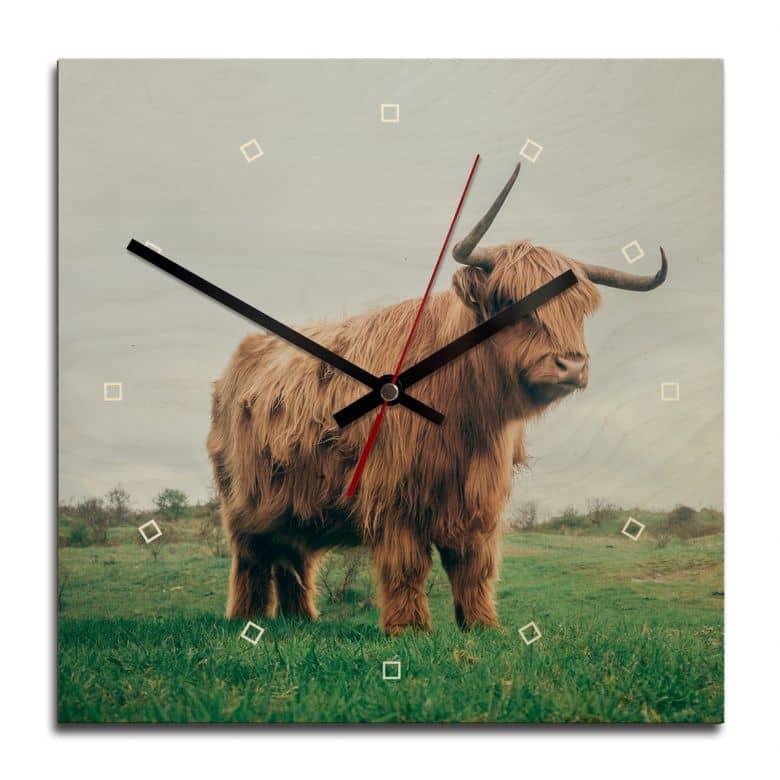 Horloge murale en bois - Vache des Highlands