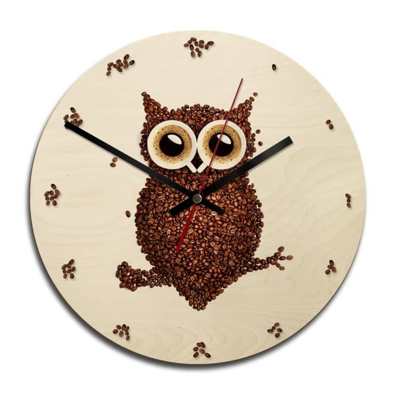 Wooden clock – Coffee Owl