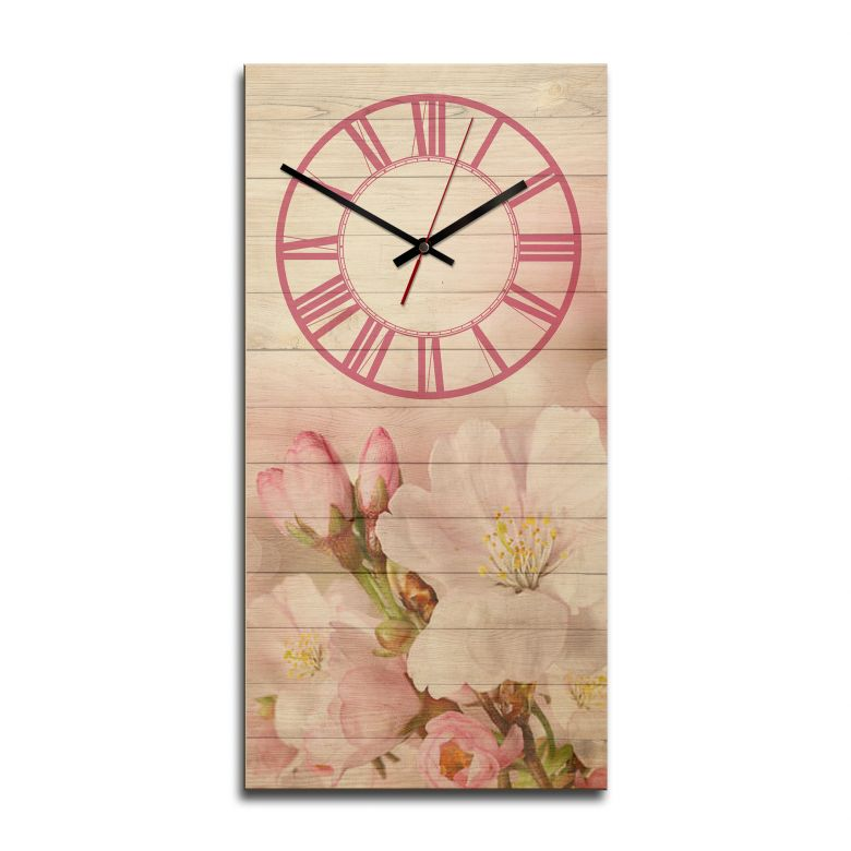 Wooden clock – Romantic Flowers