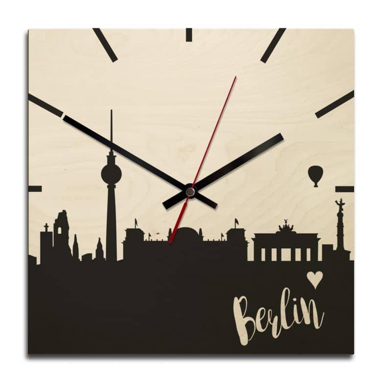 Wooden clock – Berlin – square