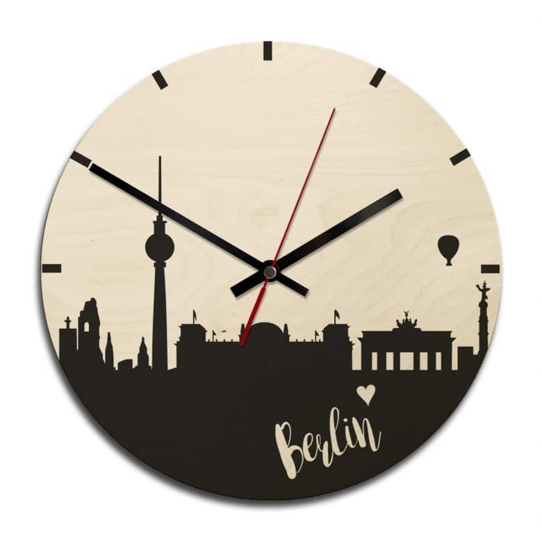Holz-Wanduhr - Skyline Berlin rund