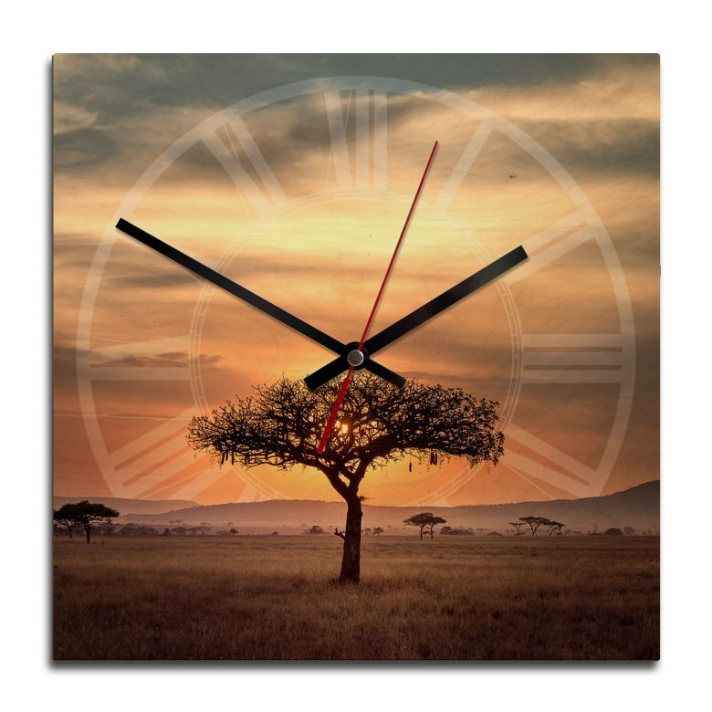 Wooden clock – Sunset in Africa