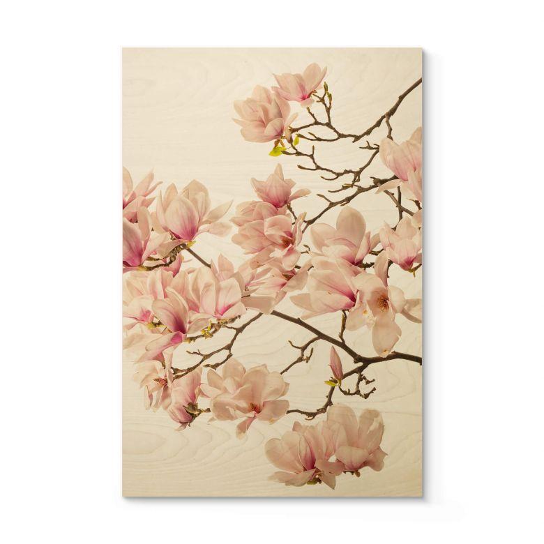 Holzposter Kadam - Flora Magnolia im Frühling