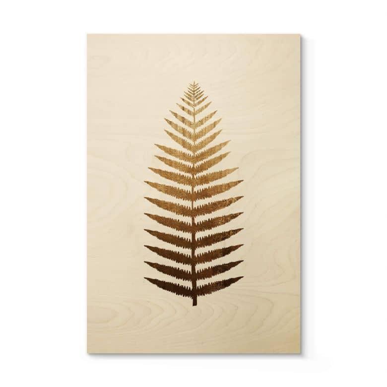 Holzposter Kubistika - Goldener Farn