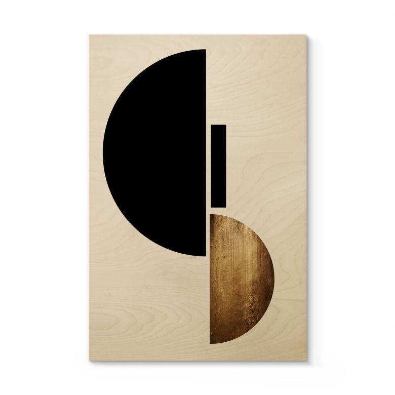 Holzposter Kubistika - Goldenes Gepräge