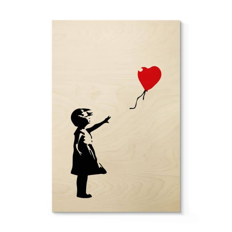 Houten Poster Banksy - Girl with the Red Balloon