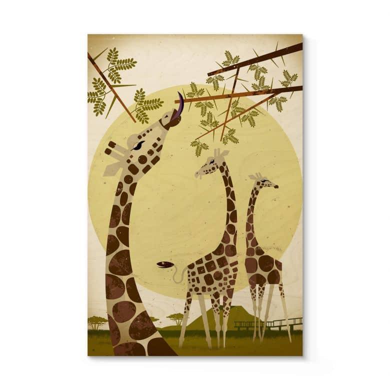 Tableau en bois Braun - Girafes