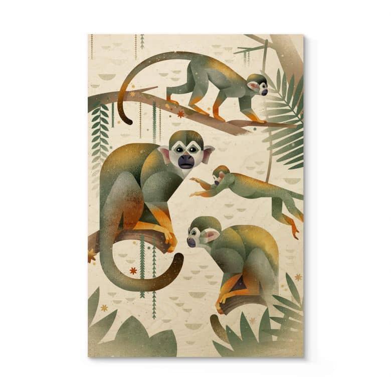 Houten Poster Braun - Aapjes