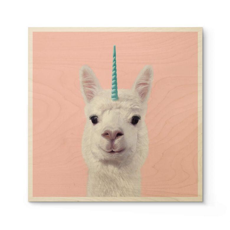 Houten Poster Fuentes - Alpaca Unicorn