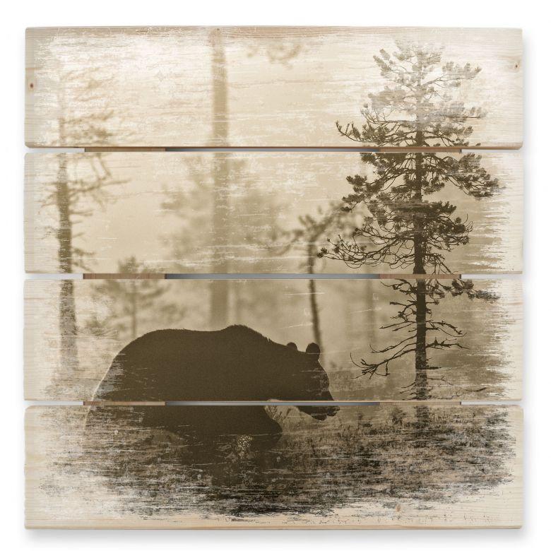 Holzbild Ove Linde - Nebel am Morgen