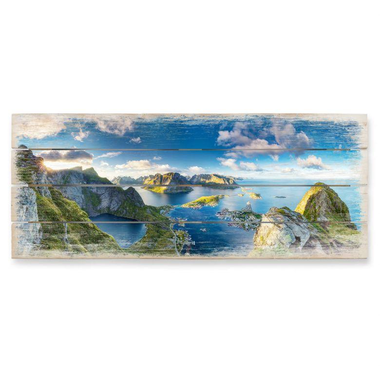 Holzbild Roemmelt - Aussicht vom Reinebringen - Panorama - 100x40 cm
