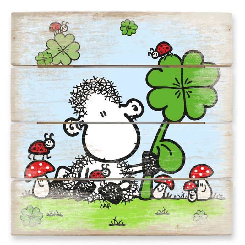 Holzbild sheepworld Ganz viel Glück