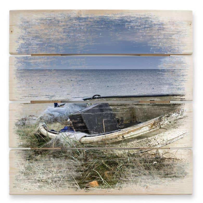 Tableau sur bois - Barque de Pêcheur