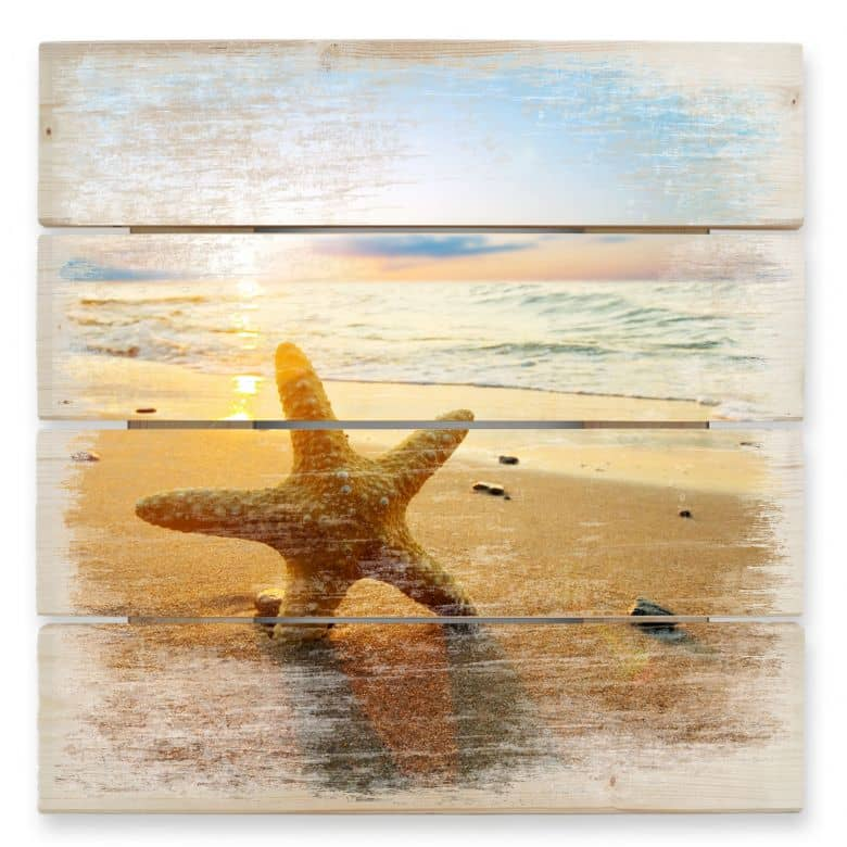 Starfish in the Sand - Wood Print