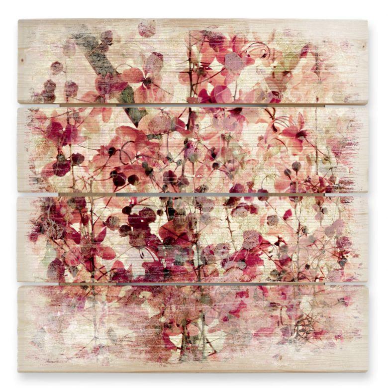 Tableau sur bois - Motif Floral Vintage