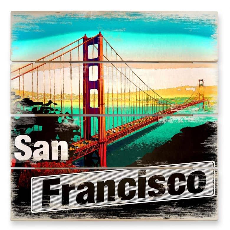 Holzbild San Francisco - Comic Style