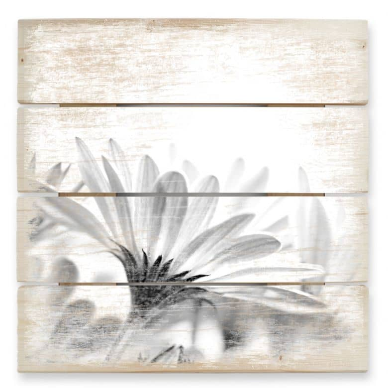 Holzbild Gänseblümchen im Detail