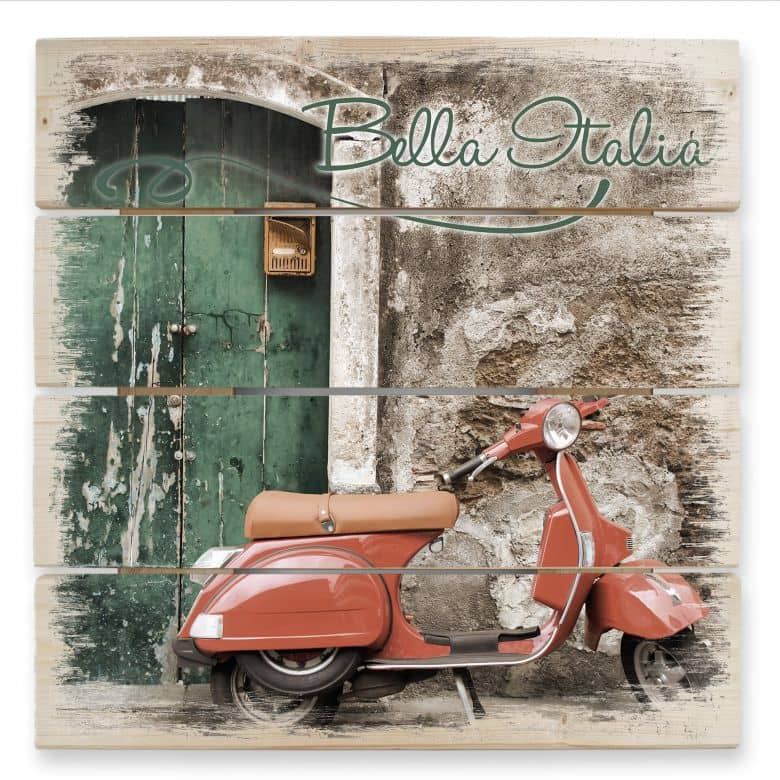 Holzbild Red Scooter