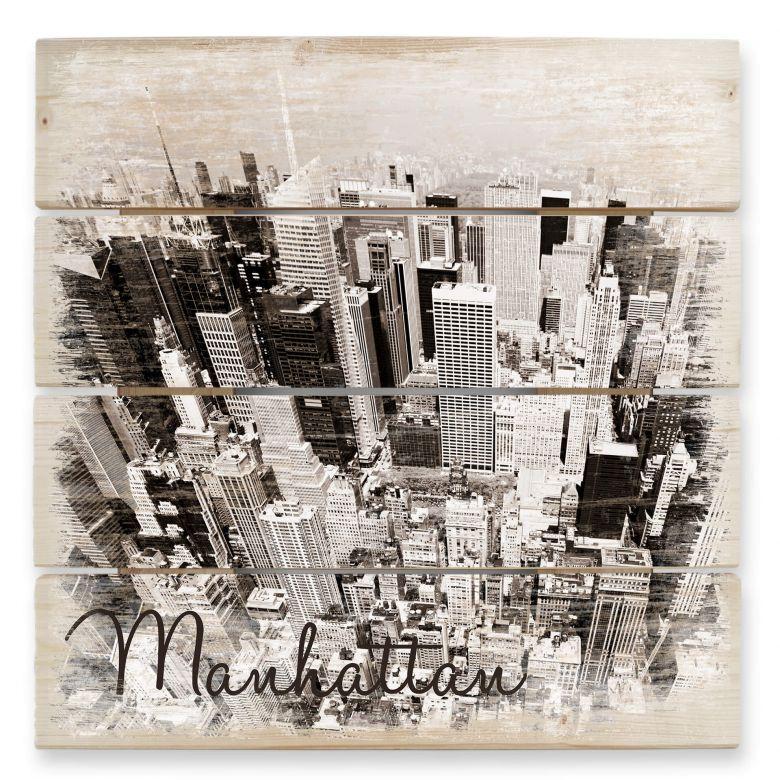 Holzbild Manhattan Luftbild