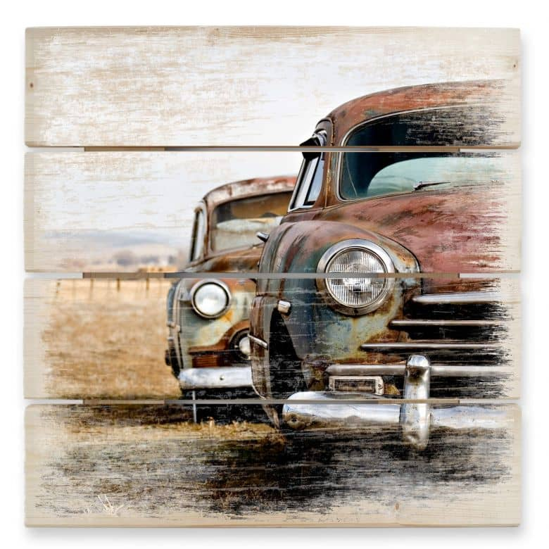 Houten Wanddecoratie Vintage Auto\'s