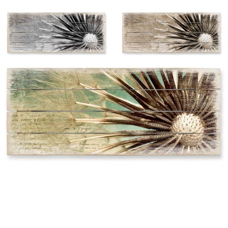 Holzbild Pusteblumen-Poesie - Panorama