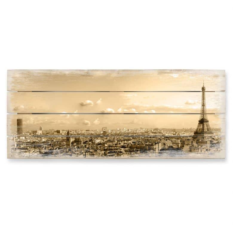 Houten Wanddecoratie Paris Skyline - Panorama