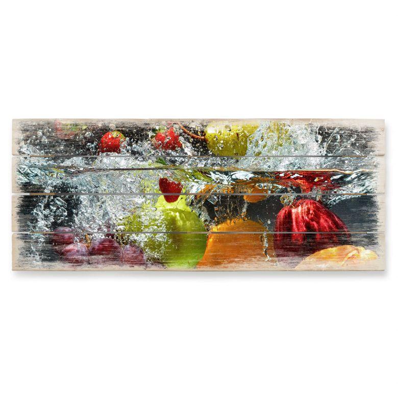 Holzbild Erfrischendes Obst - Panorama