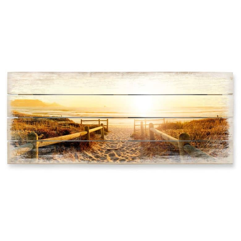 Sunset at the Beach - Panorama Wood Print
