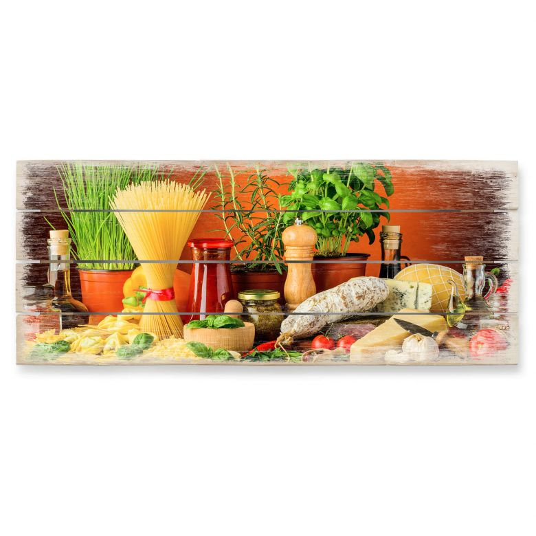 Holzbild Italienisch Kochen - Panorama