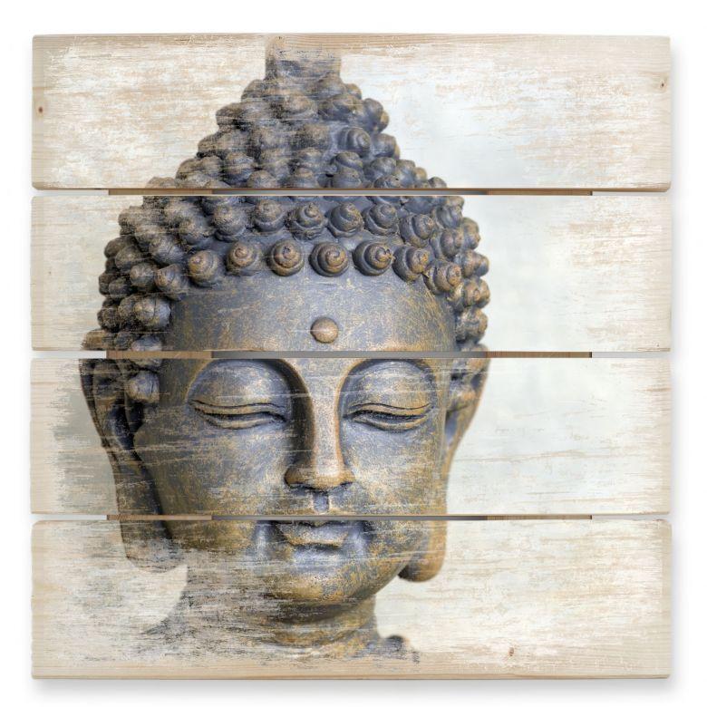 Holzbild Buddha Gesicht