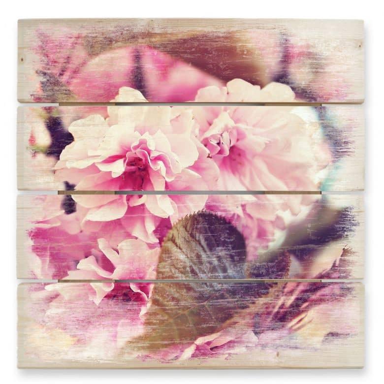 Holzbild Vintage Kirschblüten