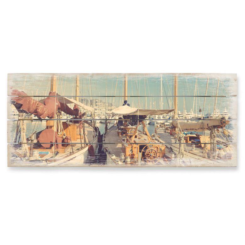 Holzbild Segelschiffe im Hafen - Panorama