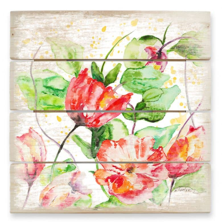 Holzbild Toetzke - Gartenblumen
