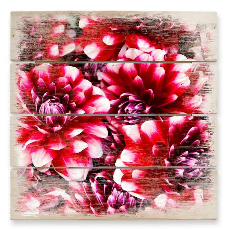 Holzbild Rote Blütenpracht