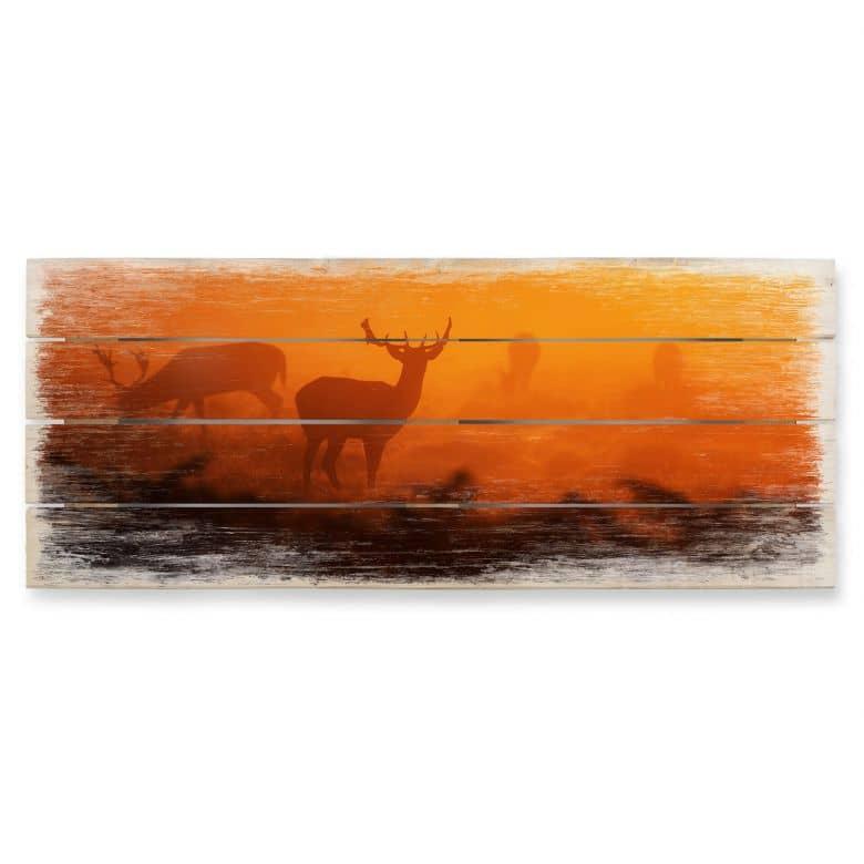 Holzbild Hirsche im Sonnenuntergang