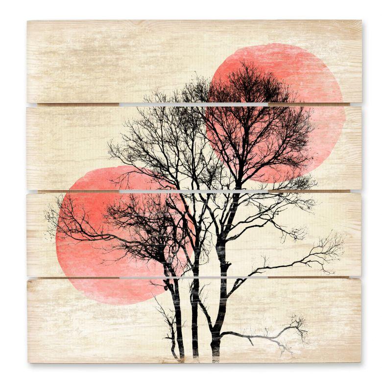 Holzbild Kubistika - Sonne und Mond hinter dem Baum