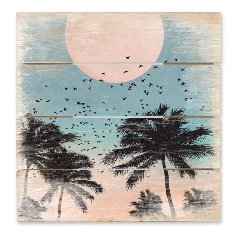 Holzbild Kubistika - Sonnenuntergang